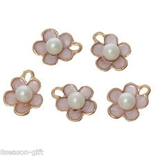 10PCs Acrylic Pearl Charm Pendants Flower Gold Plated Pink Enamel