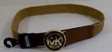M - MICHAEL KORS Tortoise MK Logo Plaque Stretch Straw Belt - Luggage $68