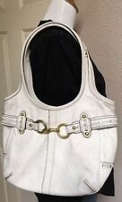 COACH ERGO White Leather BELTED Hobo Shoulder Purse-PINK SIG. Lining #Z17208