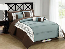 7-Pc Pintuck Scroll Floral Embroidery Comforter Set Brown Beige Teal Blue Queen