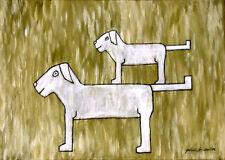 Gabriele Sauler kleiner Hund auf grossem Hund stehend gemalt Comik Komik Malerei