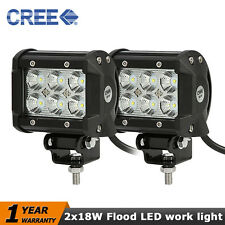 2x 18W 4inch CREE Flood LED Work Light Bumper Boat Truck Jeep Grille 4WD 4x4 ATV