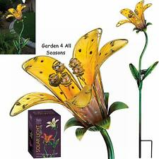 YELLOW TIGER LILY Flower Solar Light Garden Stake Creekwood Regal Art & Gift Box
