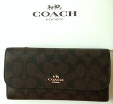 Coach Signature Checkbook Wallet Brown / Black F52681 NWT + Coach Gift Box