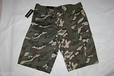 Mens Cargo Shorts ARMY GREEN BROWN CAMO w/ Canvas Belt SIX POCKETS Size 40