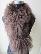 free shipping real whole lamb fur scarf  with clip/handmade brown