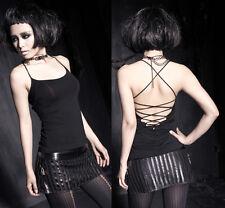 Gothic Punk Rave Damen Top Shirt black schwarz Träger Party rückenfrei S32 34 36