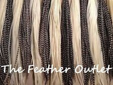 Lot 100 Feather Hair Extensions Bulk Black White Grizzly Natural Real Saddle Raw