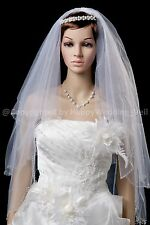 2T Handmade Small Wave Beaded Edge White Elbow Bridal Wedding Veil H3101
