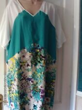 TURQUOISE AND WHITE SIZE 14 DRESS BY WALLIS