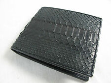 Genuine Black Belly Python Snake Skin Leather Mens Bifold Wallet + FREE SHIPPING