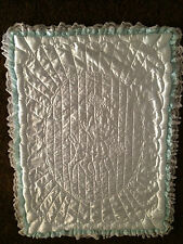 Baby Blanket Blue Deer Quilt With Lace Handmade 38x52 (USED)