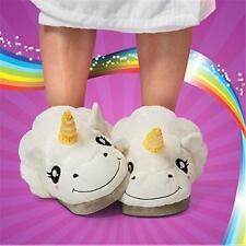 Slip On Adult Size Fantasy White Unicorn Plush Cotton Slippers Indoor Shoes C