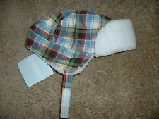 Gymboree 0-3 mos NEW Baby Boys Mr Tow Truck Plaid Earflap Hat Size months m NWT