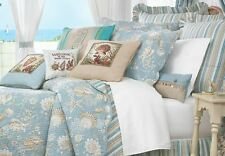 NATURAL SHELL Twin (single) QUILT SET : AQUA TROPICAL SHELLS BEACH HOUSE BEDDING