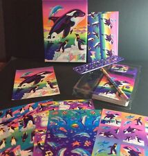 Lisa Frank Boxed Stationery Set Vtg Penguin Dolphin Whale Stickers Cards Pencil