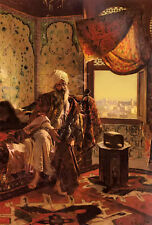Oil painting rudolf ernst - Old arab people smoking the hookah in the interior