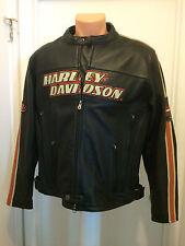 Harley Davidson Men's Torque Orange Stripes Black Leather Jacket L 98114-06VM
