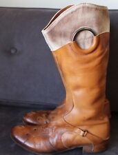 Anthropologie Womens Area Forte Distressed Cowboy Leather Boots Sz 6.5 37 Italy