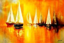"Sailing Boats On A Lake 48X72 "" Oil Painting"