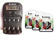 UNiROSS LCD 1-2 HOUR AA/AAA CHARGER & 12 x AA 2400 Series Hybrio Rechargeables