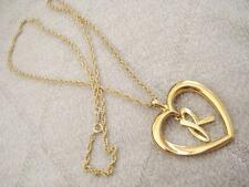 Vintage / Retro Avon Satiny Goldtone Initial R in Heart Pendant Necklace