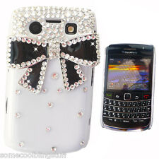 COOL BLING DESIGNER WHITE 3D BOW DIAMANTE STYLISH CASE COVER FOR BLACKBERRY 9700