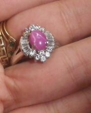 Vintage signed RING Pink Cats Eye diamond Faux- NZ Antique Estate