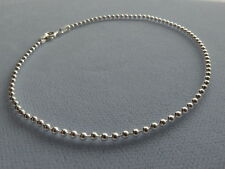"NEW- ITALIAN STERLING SILVER ANKLE BRACELET -9""- ROUND BEAD LINK- 080- ITALY 925"