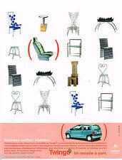 PUBLICITE ADVERTISING 065  1998  RENAULT  TWINGO    nouveau confort intérieur