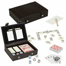 Playing Cards Dice & Dominoes Games In Faux Leather Case Gift Box Travel Set NEW