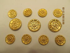 Gold Plated SHANK blazer BUTTON SET Cast Metal Coat  24/32 11p
