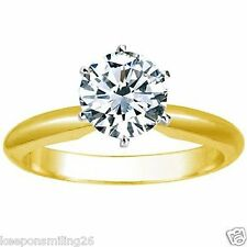 1.25 Ct Round Cut Solitaire Engagement Wedding Ring Solid 18K Yellow Gold