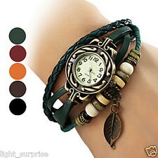 Cheapest Bohemian Leaf Pendent Leather Weave Bracelet  Watches Unique Watch