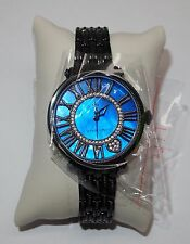 NOS Judith Ripka London Watch, Blue Face, Black Band, Never Used