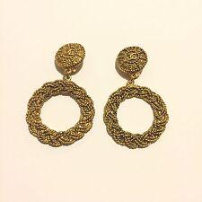 Rare Vtg Chanel Gold Tone Logo Hoop Clip Earrings