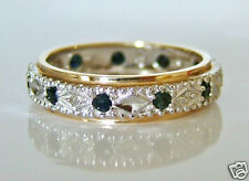 Beautiful 9ct Gold Sapphire and Diamond Full Eternity Ring Size L