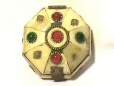 Handcrafted-Octagon  Bone & Stone-Vintage Style-Brass Hinged Trinket/Jewelry Box