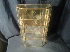 Large Vintage Glass Brass Display Case Table Wall Mirror Shelves Etched Mexico