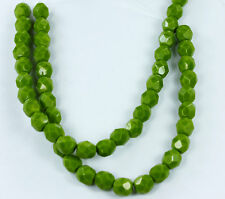 25 Opaque Olive Czech Firepolish Faceted Round Glass Beads 6mm