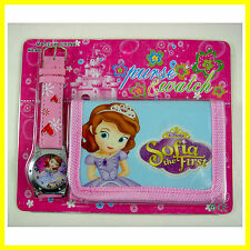 NEW Princess Sofia the First Kids Girls Ladies Wrist Watch and Purse Wallet SET