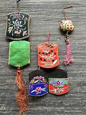 3 pieces, Antique Chinese Embroidery Needle Pouches