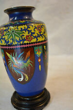 Japanese Meiji Peacock Cloisonne Vase Silver with Green Enamel interior