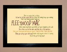 "FLEETWOOD MAC TYPOGRAPHY / LYRICS FRAMED A4 12""X8"" PHOTO POSTER PRINT"