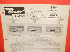 1964 PLYMOUTH VALIANT DODGE DART CONVERTIBLE BENDIX AM RADIO SERVICE SHOP MANUAL