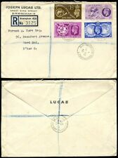 GB 1949 UPU FIRST DAY COVER JOSEPH LUCAS ENVELOPE REGISTERED BIRMINGHAM