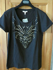 NWT $88 JUICY COUTURE PITCH BLACK EMBELLISHED TEE SIZE XS