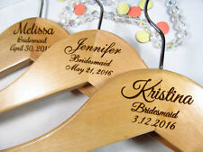 7 Personalized Hangers Engraved Wood Bridesmaid Bridal Party Keepsake 3 Lines