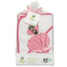 Disney Minnie Mouse Hooded Baby Girl Towel & Washcloth NEW