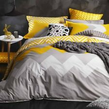 Logan and Mason MARLEY YELLOW Chevron Queen Size Bed Doona Duvet Quilt Cover Set